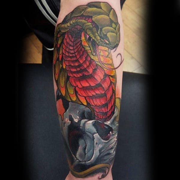 Awesome Cobra Leg Calf Mens Skull Tattoos
