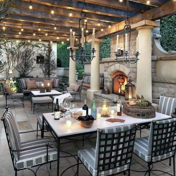Ordinaire Awesome Cover Wood Pergola Patio Fireplace Ideas