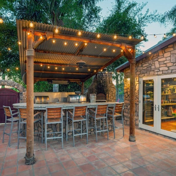 Awesome Covered Patio Bar String Light Ideas