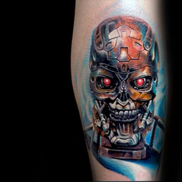 Awesome Cyborg Head Mens Terminator Leg Calf Tattoos