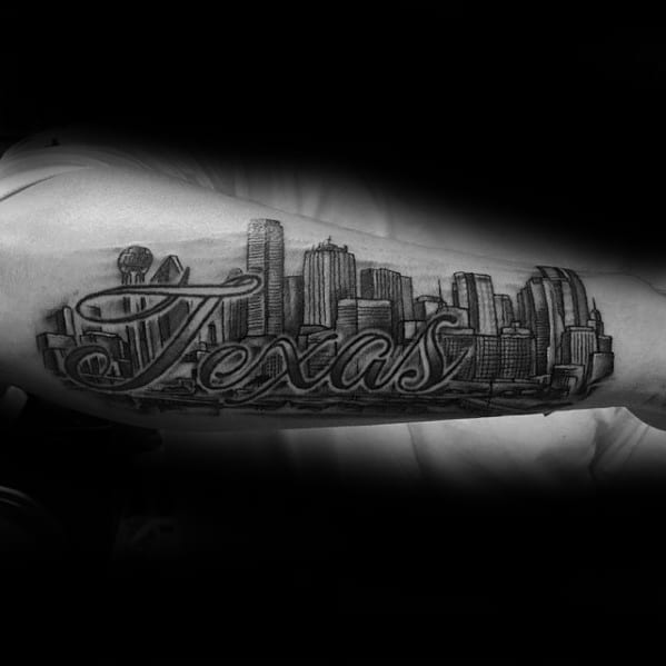 Awesome Dallas Skyline Tattoos For Men On Outer Forearm