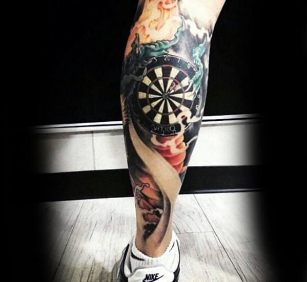 Awesome Dartboard Leg Calf Tattoos For Men