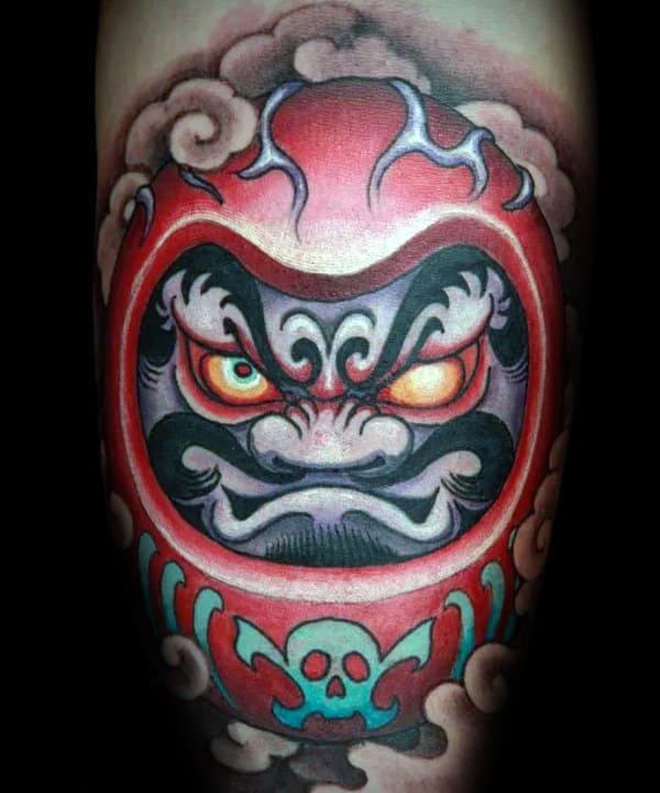 Awesome Daruma Doll Guys Forearm Tattoos