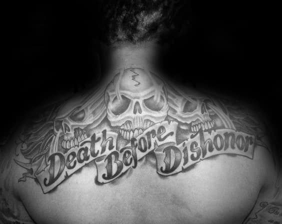 Awesome Death Before Dishonor Guys Upper Back Tattoos