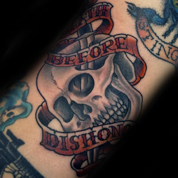 Awesome Death Before Dishonor Skull Banner Mens Arm Tattoo