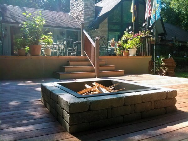 Awesome Deck Stone Square Fire Pit Ideas