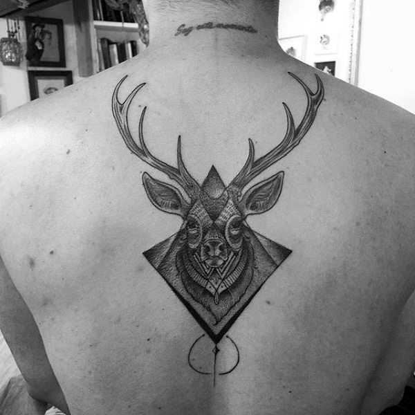 Awesome Deer Tattoos On Mans Back