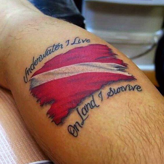 Awesome Dive Flag Tattoos For Men