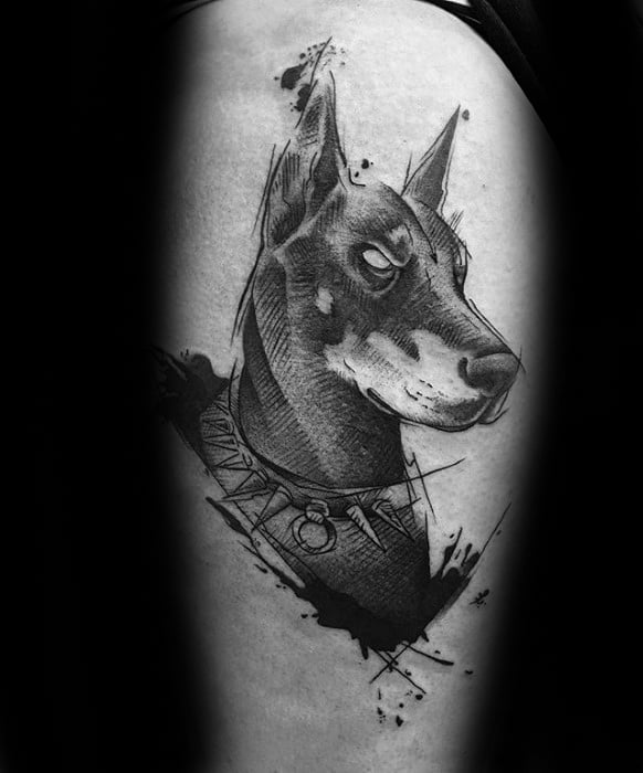 Awesome Doberman Pinscher Tattoos For Men On Thigh