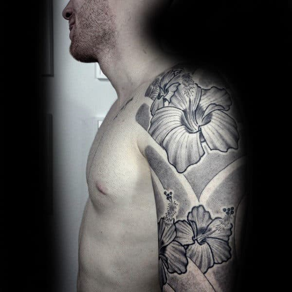 Awesome Dotwork Hibiscus Flower Guys Sleeve Tattoo Deisgn Ideas