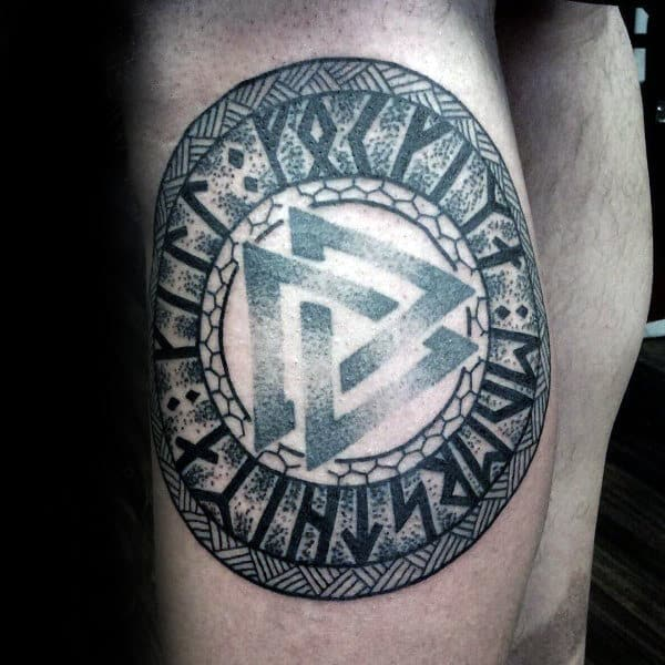 Awesome Dotwork Mens Leg Calf Valknut Norse Tattoo