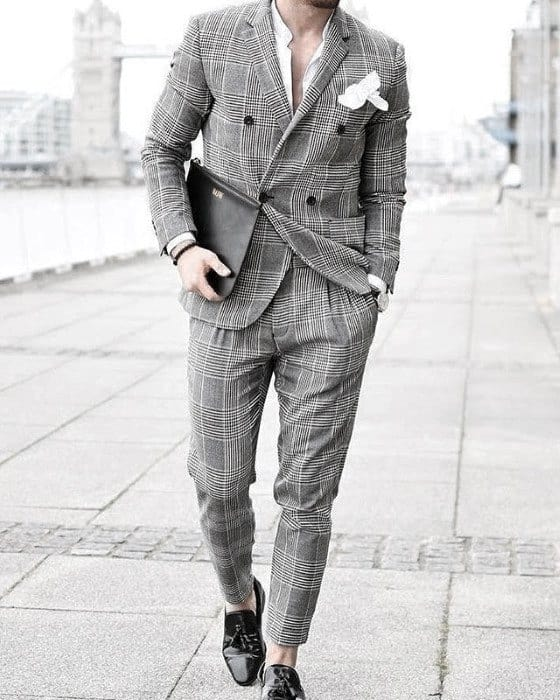 Awesome Double Breasted Grey Suit Black Shoes Styles For Men