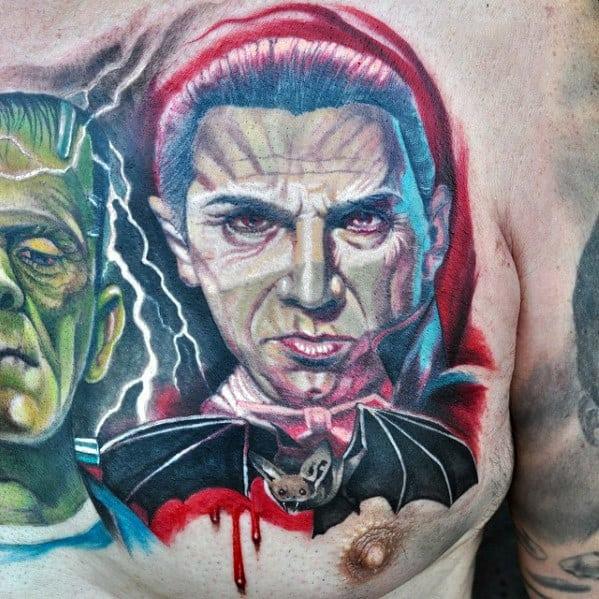 Awesome Dracula Bat Mens Upper Chest Tattoo