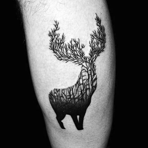 Awesome Elk Tree Forest Mens Leg Tattoo