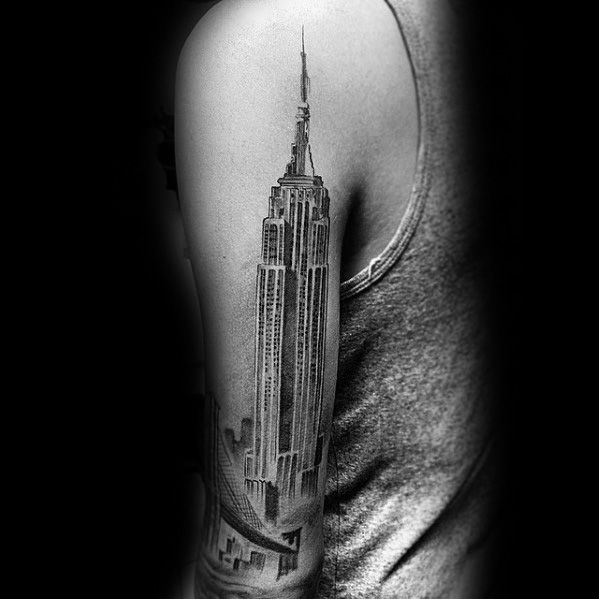 50 empire state building tattoo ideas for men skyscraper designs. Black Bedroom Furniture Sets. Home Design Ideas