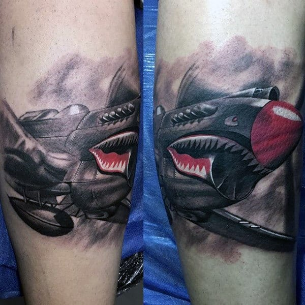 Awesome Fighter Jet Mens Army Quarter Sleeve Tattoos