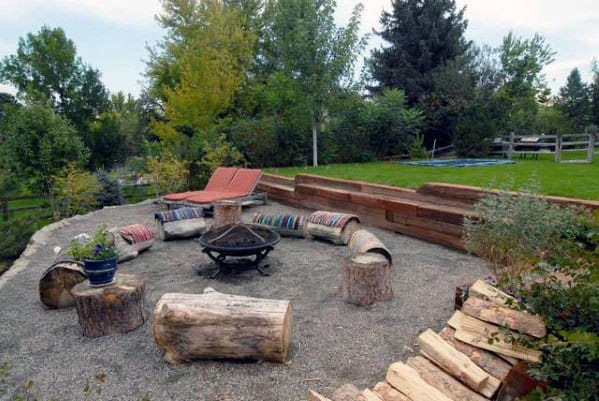 Awesome Fire Pit Seating Ideas Rough Natural Logs