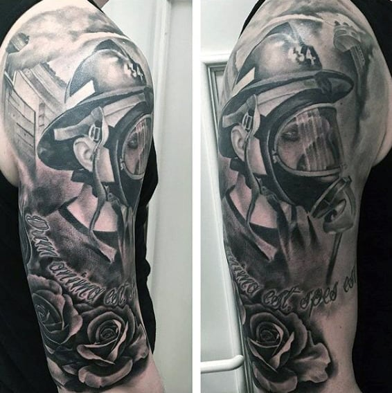 Awesome Firefighter Memorial Tribute Male Half Sleeve Tattoos