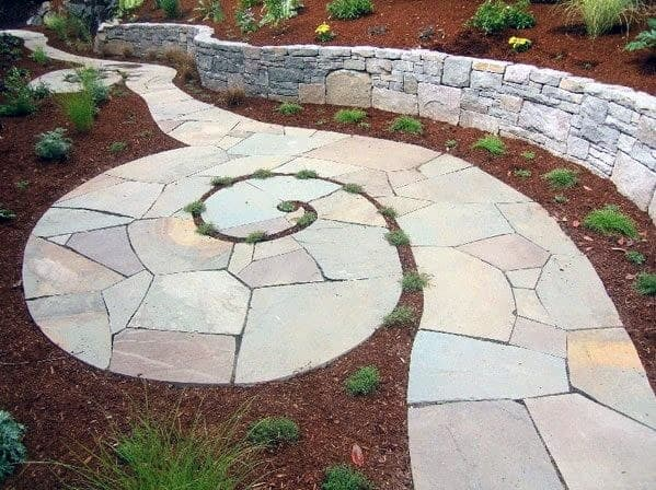 Awesome Flagstone Walkway Ideas Spiral Design