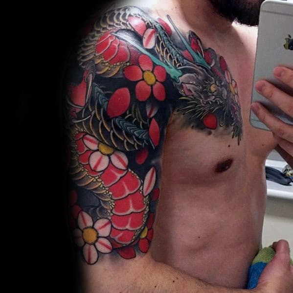 Awesome Floral Dragon Guys Half Sleeve Tattoo Inspiration
