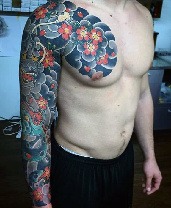 Awesome Flower Cloud Sleeve Guys Japanese Tattoo Designs