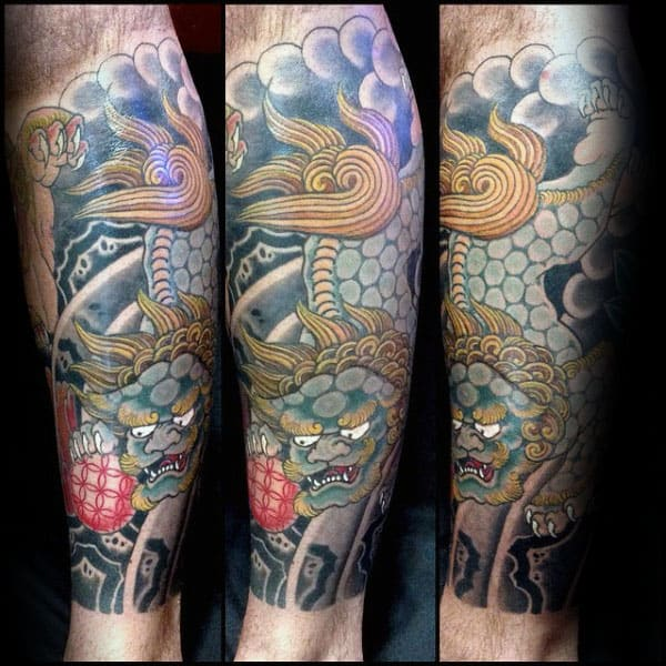 Awesome Foo Dog Mens Leg Sleeve Tattoo Ideas