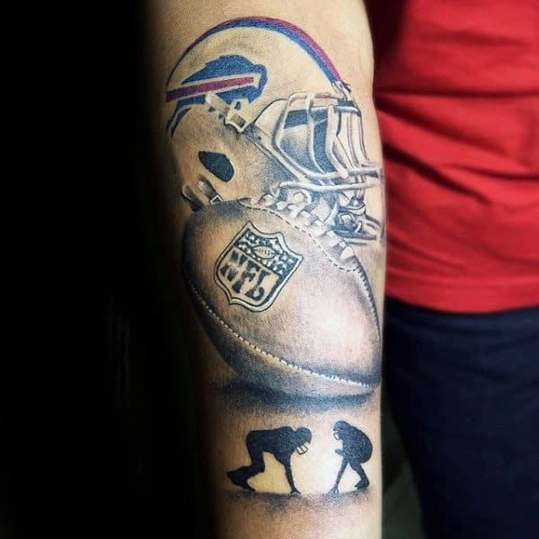 Awesome Football Players With Ball Mens Forearm Tattoos