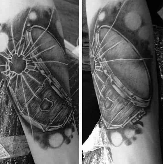 Awesome Forearm Broken Glass Tattoos For Men