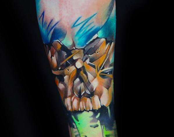 Awesome Forearm Colorful Watercolor Skull Tattoos For Men