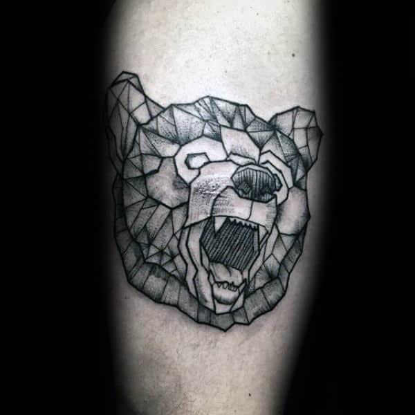 Awesome Forearm Roaring Geometric Bear Male Tattoo Ideas