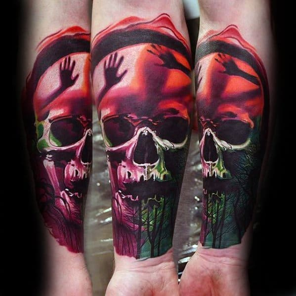Awesome Forearm Skull Surrealism Tattoos For Men