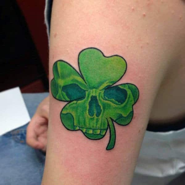 Awesome Four Leaf Clover Green Skull Guys Tattoos