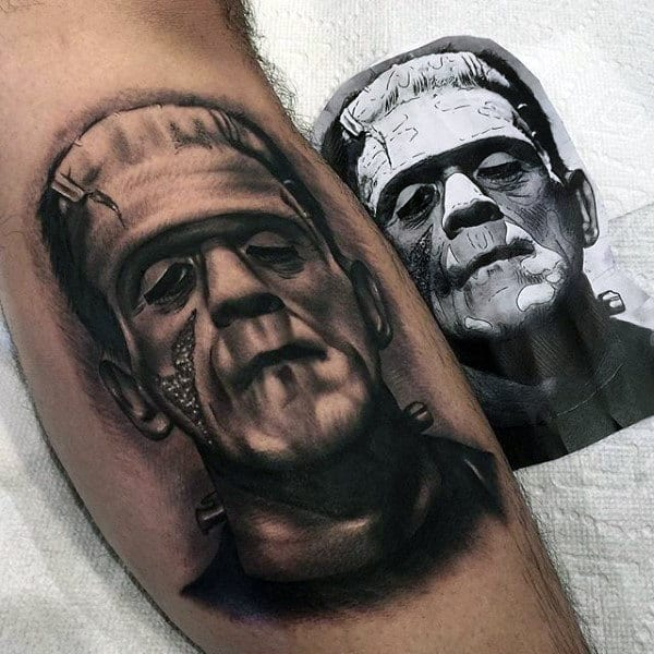 Awesome Frankenstein Black And Grey Ink Shaded Mens Leg Calf Tattoos