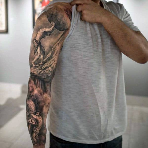Awesome Full Arm Sleeve 3d Sisyphus Tattoos For Men