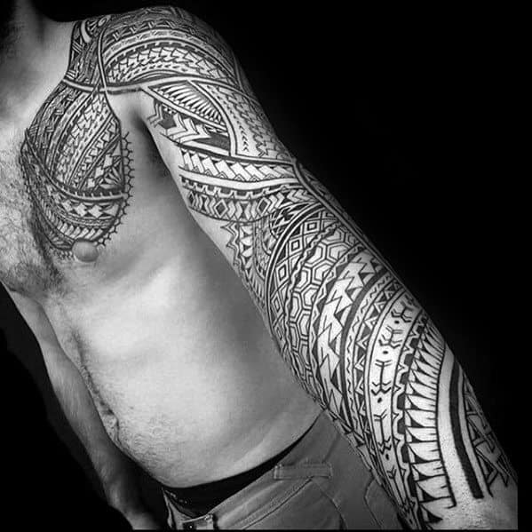 Awesome Full Arm Sleeve Tribal Tattoos Male