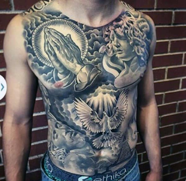 Awesome Full Chest Mens Tattoo With Religious Theme