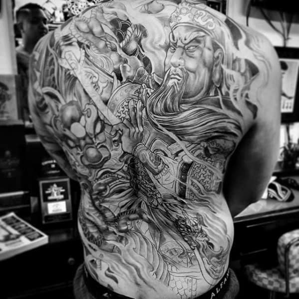 Awesome Full Shaded Black And Grey Back Tattoos For Gentlemen