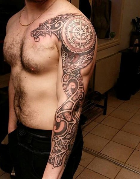 Awesome Full Sleeve Guys Rune Norse Tattoo Ideas