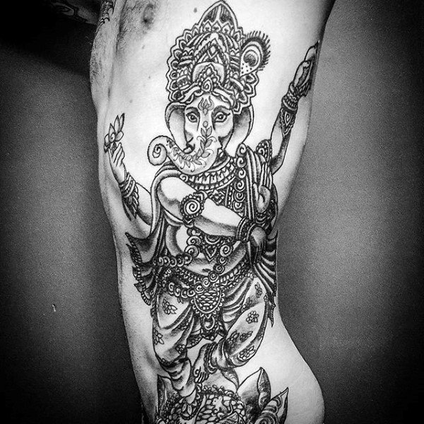 Awesome Ganesh Rib Cage Side Tattoo Ideas For Men