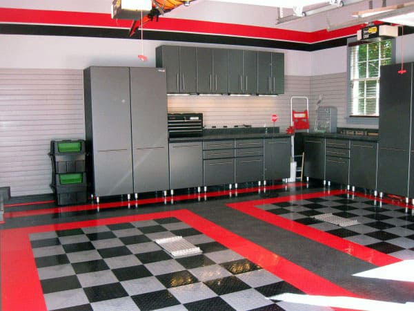 Awesome Garage Paint Ideas That Match The Floor Red And Black