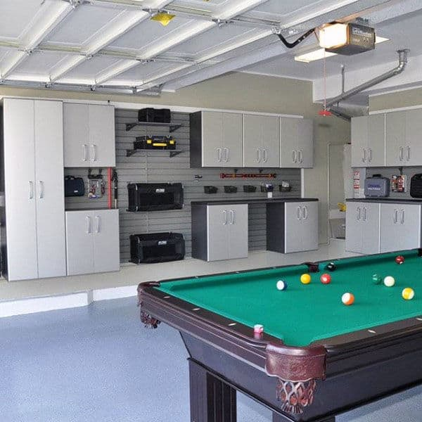 Awesome Garage With Pool Table And Organized Storage Wall Units
