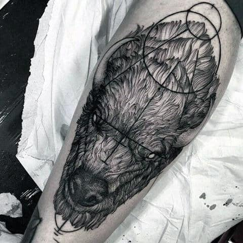Awesome Geometric Bison Mens Leg Tattoos