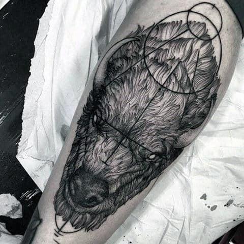 Awesome Geometric Bison Mens Leg Tattoos