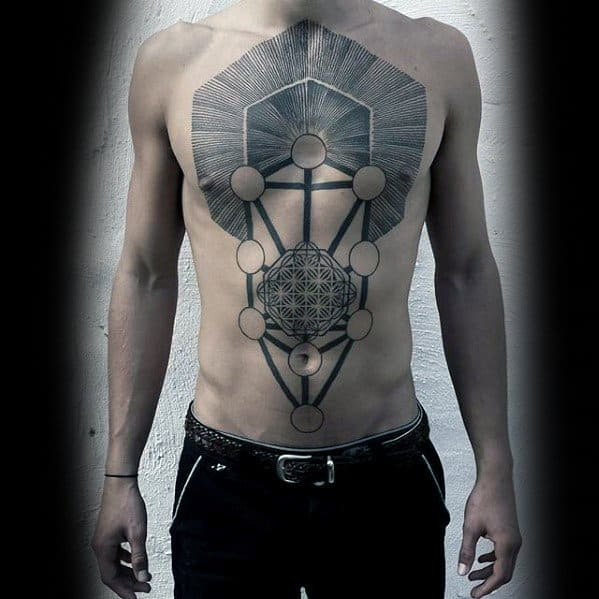Awesome Geometric Chest Tattoos For Men