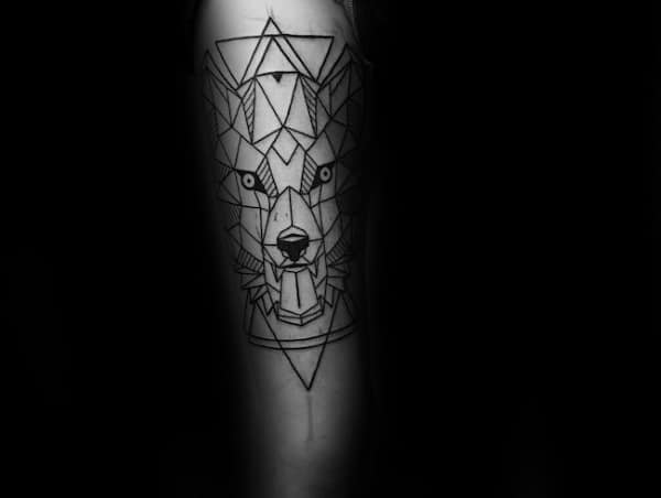 Awesome Geometric Wolf Tattoos For Men With Triangles On Inner Forearm