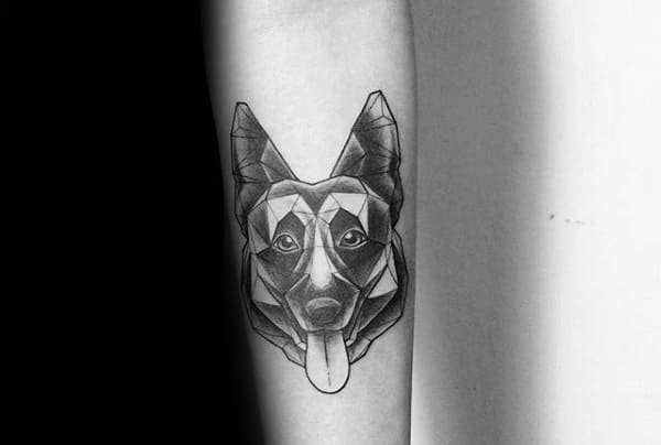 Awesome German Shepherd With Tounge Sticking Out Mens Geometrical Forearm Tattoo