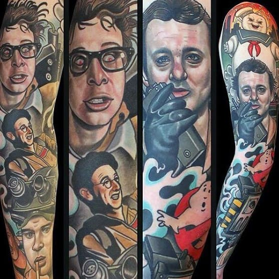 Awesome Ghostbusters Tattoos For Men Full Arm Sleeve