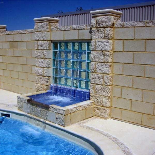 Awesome Glass Block Ideas Pool Water Fountain Feature