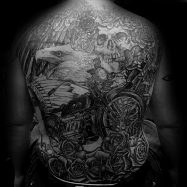 Awesome Grateful Dead Themed Full Back Tattoos For Men