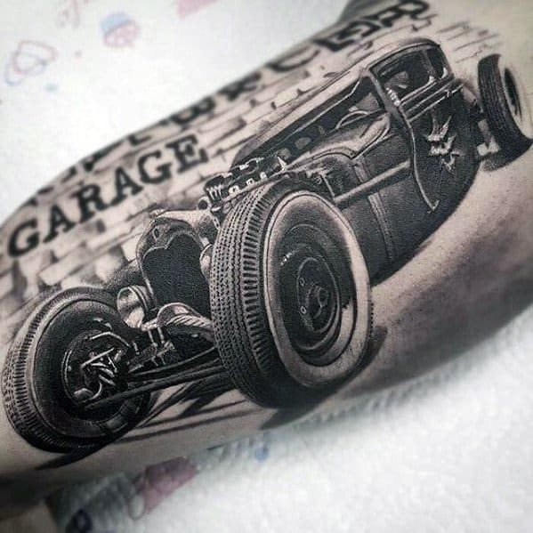 Awesome Greatest Hot Rod 3d Realistic Tattoos For Men